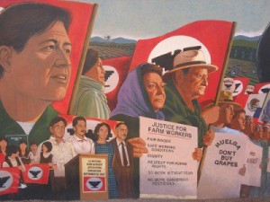 image of a mural featuring Cesar Chavez and other UFW members